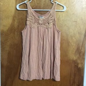 Forever 21 Tops - Peach Crochet Tunic Tank Top